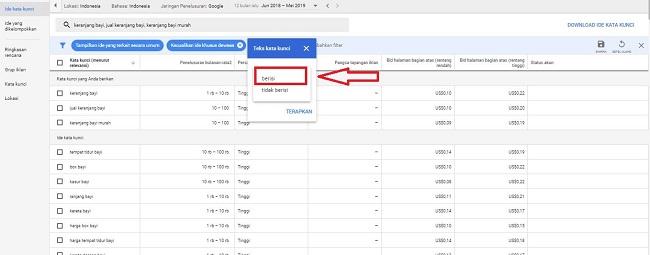 cara meriset keyword menggunakan keyword planner