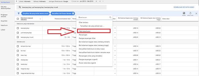 mereset keyword menggunakan keyword planner