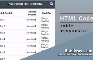 cara membuat tabel menjadi responsive